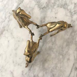 Vintage brass three horses stand